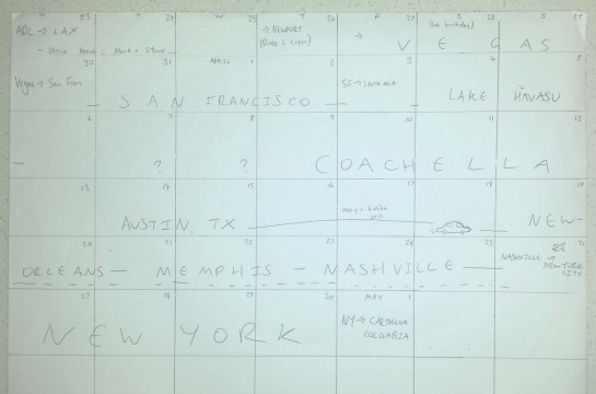 My hand-drawn calendar itinerary