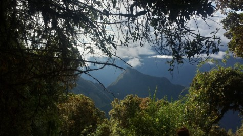 Machu Picchu itself is hiding just behind that mountain... So close we can nearly touch it!