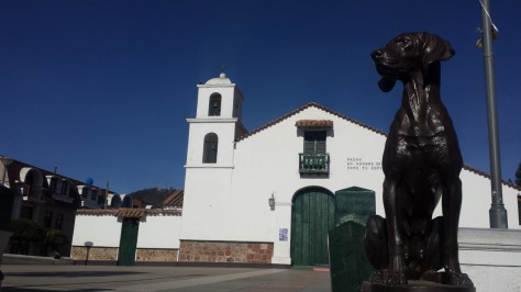 Church of San Roque in Sucre with its dog statues at the entranc.e
