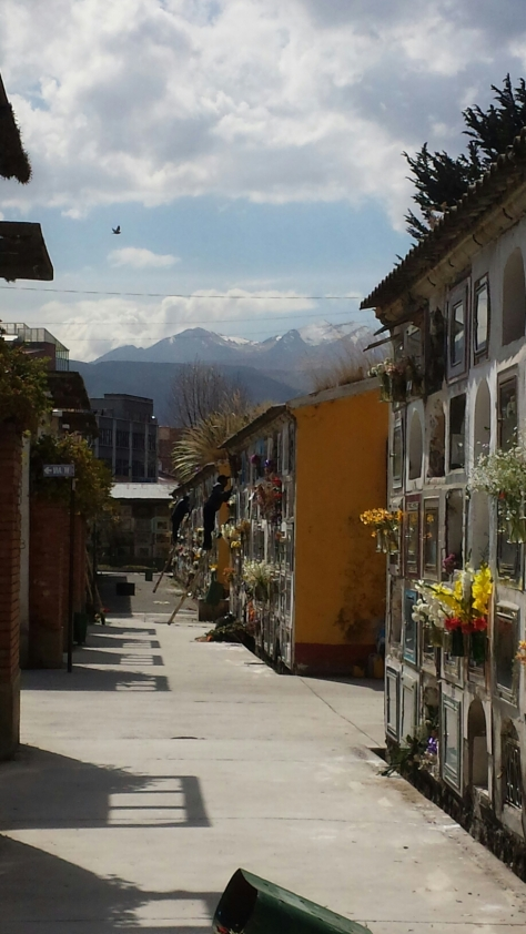The mountains of La Paz create a cool backdrop to that side of the cemetery.