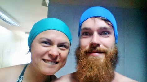 My 3 favourite things about the thermal baths were my cap, Siz's cap and our combined caps