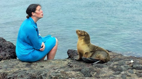 Fay and a very friendly sea lion. Remember that movie Andre? About the girl and her sea lion best friend? God that was good!