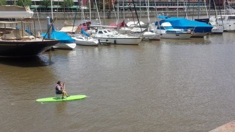 This is pretty irrelevant, but it's funny. Why stand up when you can sit down paddle board?! You do you, lady.